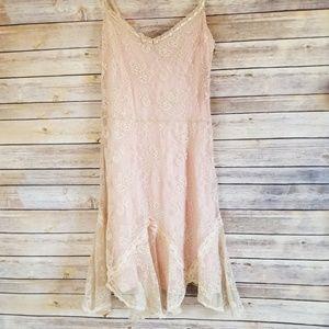 Heart Moon Star  Boho Ivory Lace /Pink Dress Sz 8
